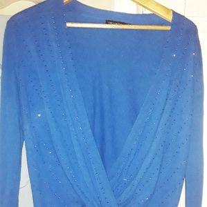 Silk/cotton/cashmere cobalt blue sweater size L